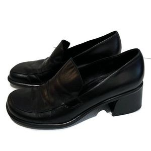 Franco Sarto Flex Black Chunky Heel Loafers Shoes